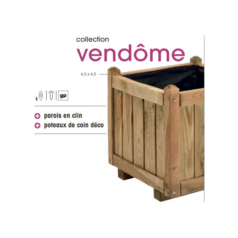 jardini re en bois autoclave fsc 120x60x50cm 220l vendome jardipolys. Black Bedroom Furniture Sets. Home Design Ideas