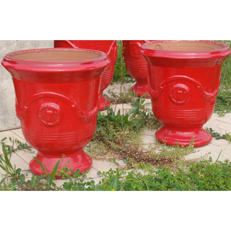 Vase d 39 anduze terre cuite maill e rouge terre figui re for Parefeuille terre cuite prix