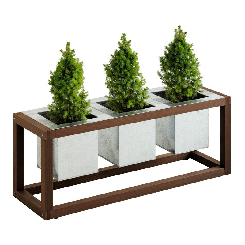 bac plantes design blok en bois trio pots s acier 100 6x31xh39 6cm burger. Black Bedroom Furniture Sets. Home Design Ideas