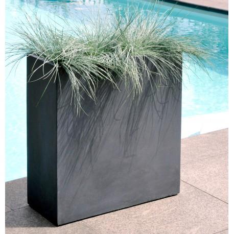 Bac à plantes en fibre de terre 60x25xH.72cm gris plomb