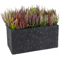 Bac à plantes en fibre de terre rectangulaire 80x40xH.40cm Nebraska couleur graphite Mega Collections