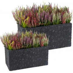 Bac à plantes en fibre de terre rectangulaire 100x45xH.45cm Nebraska couleur graphite Mega Collections